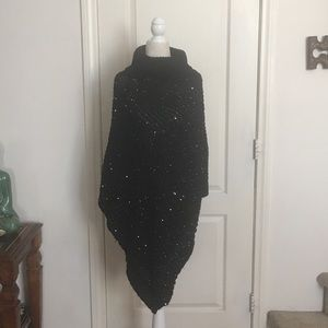 Sweaters - Black Sequined Turtleneck Poncho Sweater